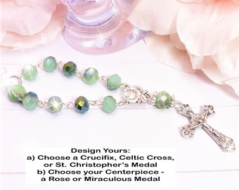 Emerald Green Beads, Car, Mirror, Rearview, Rear View, Charm, Hanger, Accessory, Cross, MIni Rosary, Rose, gift, 1 Decade