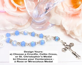 Sky Blue Silver Beads, Car, Mirror, Rearview, Rear View, Charm, Hanger, Accessory, Cross, MIni Rosary, Rose, gift, 1 Decade
