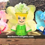 Made- Blue Green Pink Fairy Fairies - Flower Pot, Head, People, Terra Cotta, Planter, In Door Decor, Outdoor Decor, Garden, Clay Pot, Gift
