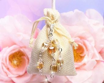 Hanger Sachet Golden Clear Crystals, choose scent, Drawer, Closet, Car RearView Mirror, Bathroom, Air Freshener, Laundry, Wedding Favors