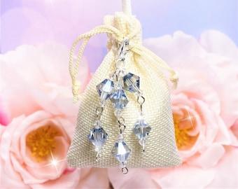 Hanger Sachet Light Blue Clear Crystals, choose scent, Drawer, Closet, Car RearView Mirror, Bathroom, Air Freshener, Laundry, Wedding Favors