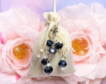 Hanger Sachet Dark Blue Clear Crystals, choose scent, Drawer, Closet, Car RearView Mirror, Bathroom, Air Freshener, Laundry, Wedding Favors