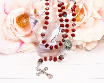 Red Clear Crystals Rosary Beads, Catholic, Religious, Gift, Christian, Miraculous Medal, Crucifix, Cross, Necklace, Jewelry