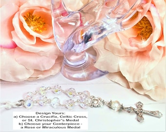 Clear Crystal Beads, Car, Mirror, Rearview, Rear View, Charm, Hanger, Accessory, Cross, MIni Rosary, Rose, gift, 1 Decade