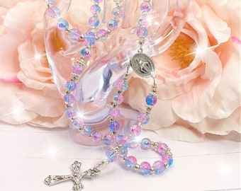 Pink Blue Silver Rosary Beads, Catholic, Religious, Gift, Christian, Miraculous Medal, Crucifix, Cross, Necklace, Jewelry