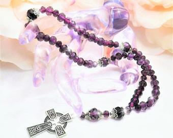 Deep Purple Silver Beads, Prayer Beads, Anglican, Christian, Protestant, Episcopal, Rosary, Gift, Celtic Cross, Spiritual, Baptist