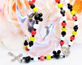 Mickey Minnie Mouse Rosary Beads, Catholic, Religious, Gift, Christian, Miraculous Medal, Crucifix, Cross, Necklace, Gift, Birthday