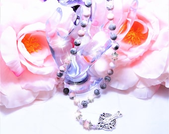 Pink Gray White Agate Beads, Prayer Beads, Anglican, Christian, Protestant, Episcopal, Rosary, Gift, Celtic Cross, Spiritual, Baptist