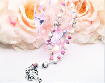 Ceramic Floral Pink Blue Purple, Prayer Beads, Anglican, Christian, Protestant, Episcopal, Rosary, Gift, Celtic Cross, Spiritual, Baptist