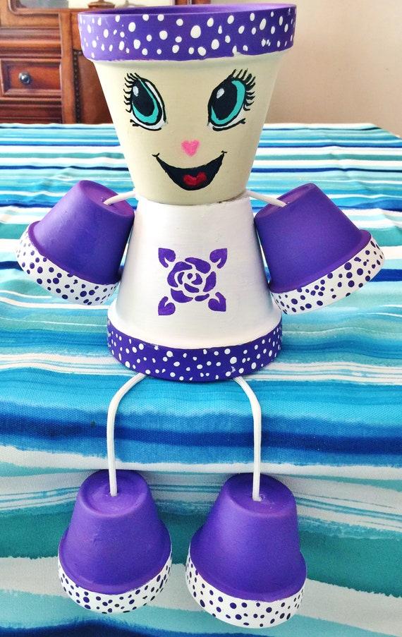 Girl or Boy Purple Rose Flower Dots Clay Pot Head People Terra Cotta