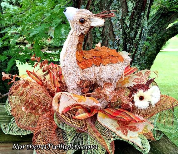 Fall Leaves Deer Owl - Fall Halloween Thanksgiving Centerpiece