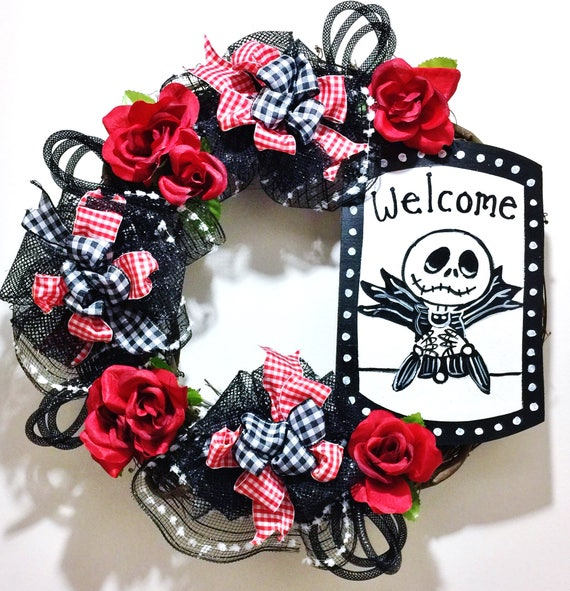 Jack Skellington Black White Roses Red - Every Day Welcome Door Grapevine Wreath