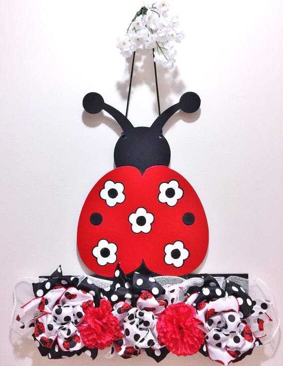 Lady Bug Flowers Ribbon Black Red White  - Welcome Door Wreath Hanger