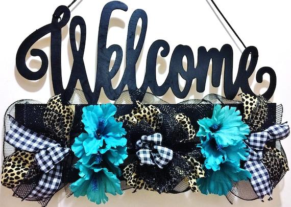 Black Cheeta Leopard Blue White Floral  - Welcome Door Wreath Hanger