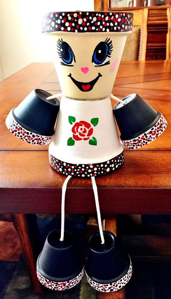 Girl or Boy Black White Red Rose Flower Clay Pot Head People Terra Cotta