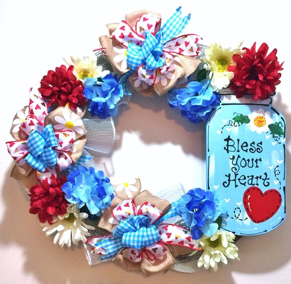 Mason Jar Bless Your Heart Flowers Red White Blue - Welcome Door Grapevine Wreath
