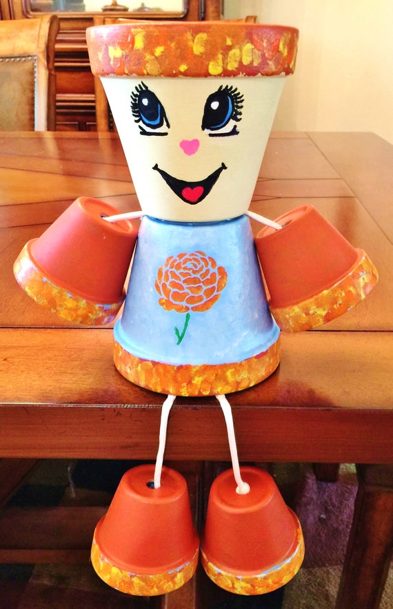 Girl or Boy Fall Marigold Blue Flower Dots Clay Pot Head People Terra Cotta
