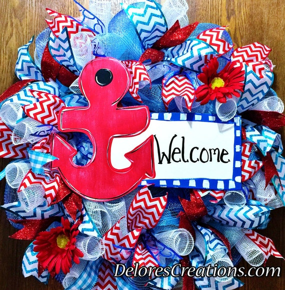 Anchor Welcome Sign Floral Red White Blue - Door Wreath!