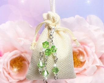 Hanger Sachet Green Clear Crystals, choose scent, Drawer, Closet, Car RearView Mirror, Bathroom, Air Freshener, Laundry, Wedding Favors