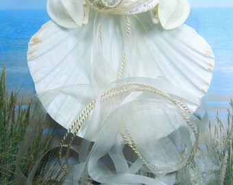 Seashell Ring Pillow - Two Hearts Pearly Abalone - Seashell Starfish  Ring Bearer's Pillow