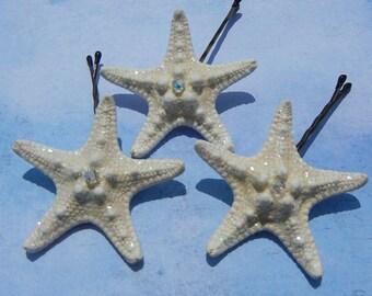 Crystal Stars - Starfish Bobby Pins