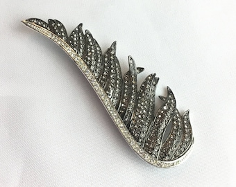 Vintage half feather rhinestone brooch