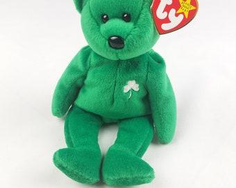 831c104ce85 Vtg TY Beanie Baby Erin Bear green 1997 retired