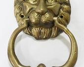 door knocker lion head solid brass Victorian style heavy vintage