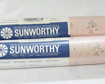 Sunworthy pre-pasted floral pink wallpaper wallcover #SL5253 vintage set of 2