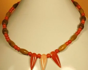 Necklace of Red Aventurine and olive jade