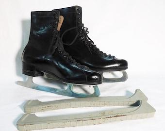 Vintage ladies figure ice skates womens shoes sheffield steel great britain size 40