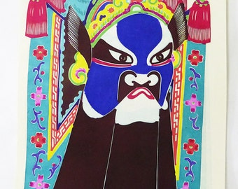 Chinese mask warrior hand painted hand cut set of 8 paper cut out vintage