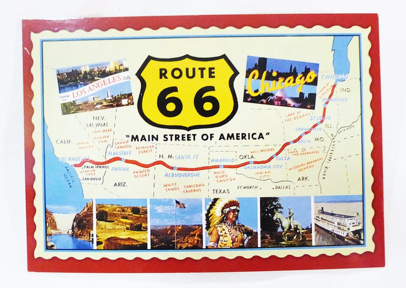 Historic route 66 mainstreet of america los angeles chicago postcard unposted