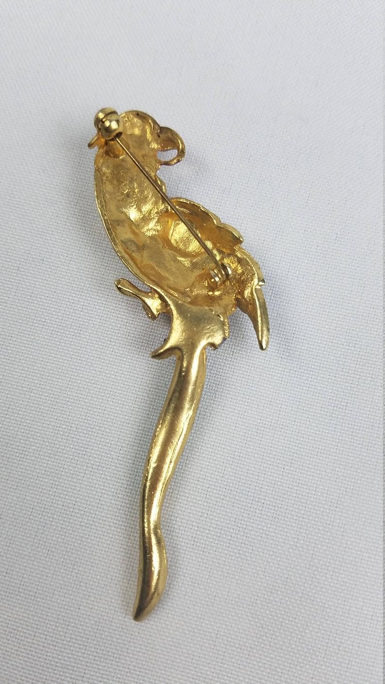 Vintage enamel crystal Macaw parrot brooch pin rhinestones bird