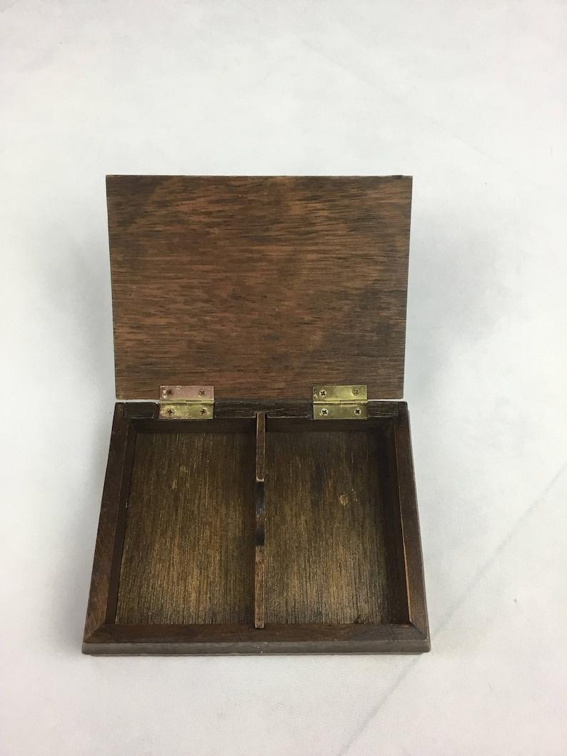 Vintage wood playing card holder box ceramic mallard duck decor