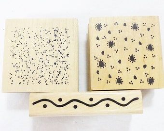 Vintage wood mounted rubber stamp background texture lot of 3