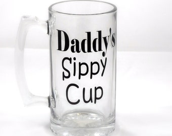 Daddy's Sippy Cup-Beer Glass-Beer Stain-Birthday Gift for him-Baby Shower-Gift for Dad-Personalized-Christmas Gift