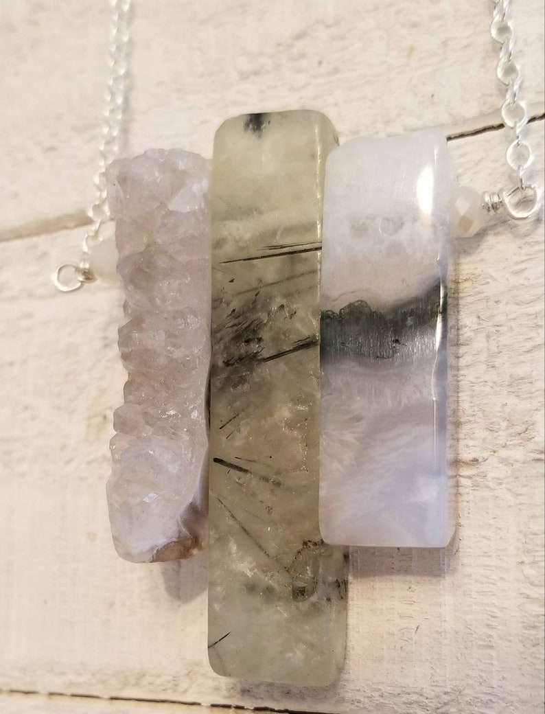 The Three Crystal Slice Amulet Necklace