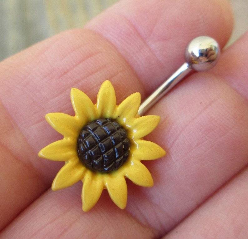 10mm Sunflower Flower Belly Navel Bar Yellow or White