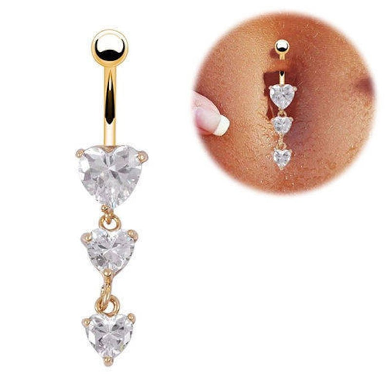 Rhinestones Flower Surgical Steel Barbell Piercing Belly Button Navel Ring IJ