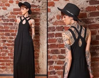 Gothic Dress, Goth Clothing, Gothic Clothing Women, Plus Size Goth Dress, Gothic Maxi Dress, Black Goth Halloween Dress, Minimalist Clothing