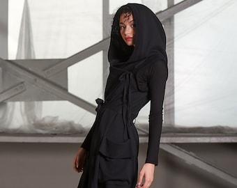Black Vest Women, Cotton Vest, Hooded Cardigan, Plus Size Cardigan, Cape Jacket, Black Cardigan Women, Sleeveless Jacket, Plus Size Jacket