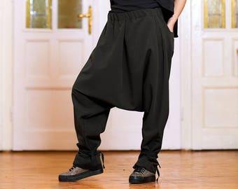 Loose Pants Navy Blue Harem Pants Wrap Pants Avant Garde Clothing Women Wool Pants Plus Size PA0524CW Drop Crotch Pants Urban Pants