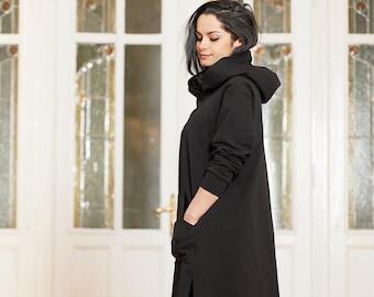 Black Hoodie, Plus Size Clothing for Women, Black Sweatshirt, Plus Size Hoodie, Gothic Clothing, Hoodie Jacket, Black Jacket Long Sleeve Top