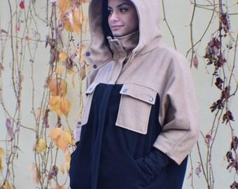 Black Coat, Brown Coat, Cashmere Coat, Oversized Coat, Plus Size Coat, Hooded Coat, Winter Coat, Wool Coat, Warm Coat, Big Hood Hoodie