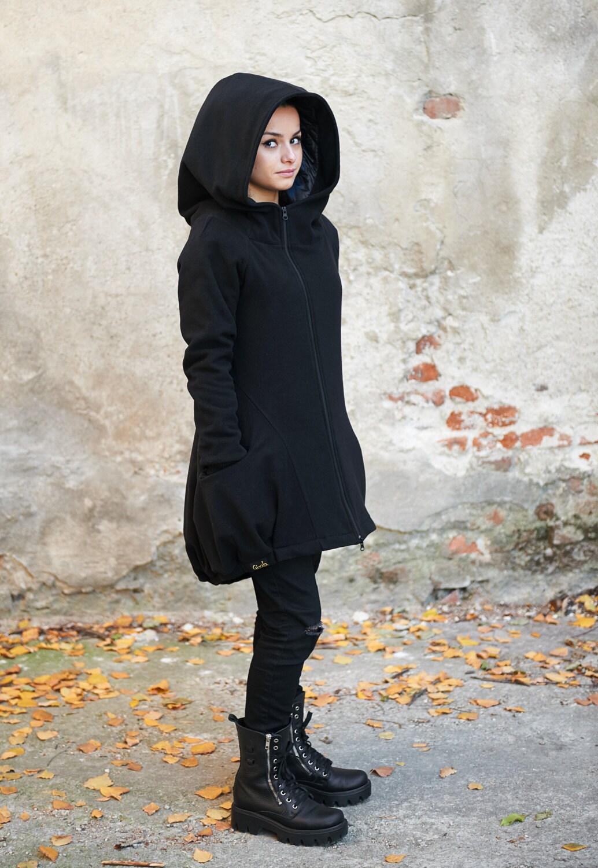 Wool Winter Coat Black Cape Hooded, Women S Black Hooded Wool Winter Coat