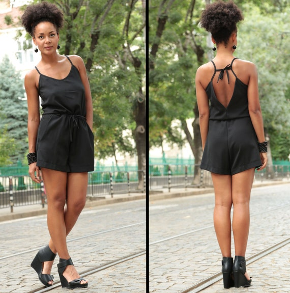 Black Overalls Sexy Shorts Jumpsuit Boho Clothing Womens BDSM Sleeveless Shorts Romper Short Women Black Jumpsuit Jumpsuit Jumpsuit qw5CY4