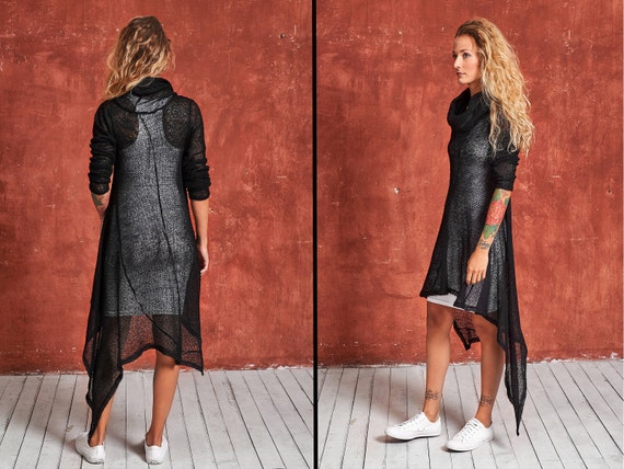 Dress Long Loose Tunic Dress Black Dress Loose Wool Sweater Dress Dress Sweater Knit Dress Winter Sleeve Dress Black Knitted Knit SnTOH86q
