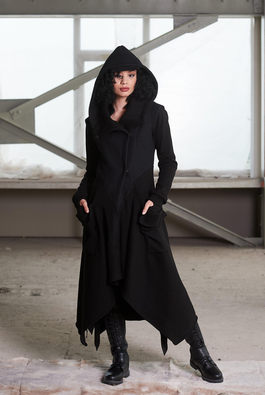 Winter Coat Women Wool, Women S Black Hooded Wool Winter Coat
