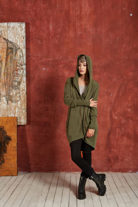Sweater Jacket Hoodie Winter Green Womens Jacket Boho Cardigan Elven Hoodie Green Cardigan Green Boho Hoodie Hoodie Yoga Boho fRqwZEOx